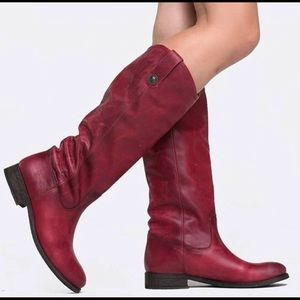 Frye leather burgundy washed antique riding boots